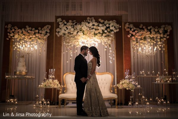 Ivory Flowers In A Gold Frame For Reception Maharani Wedding Stage