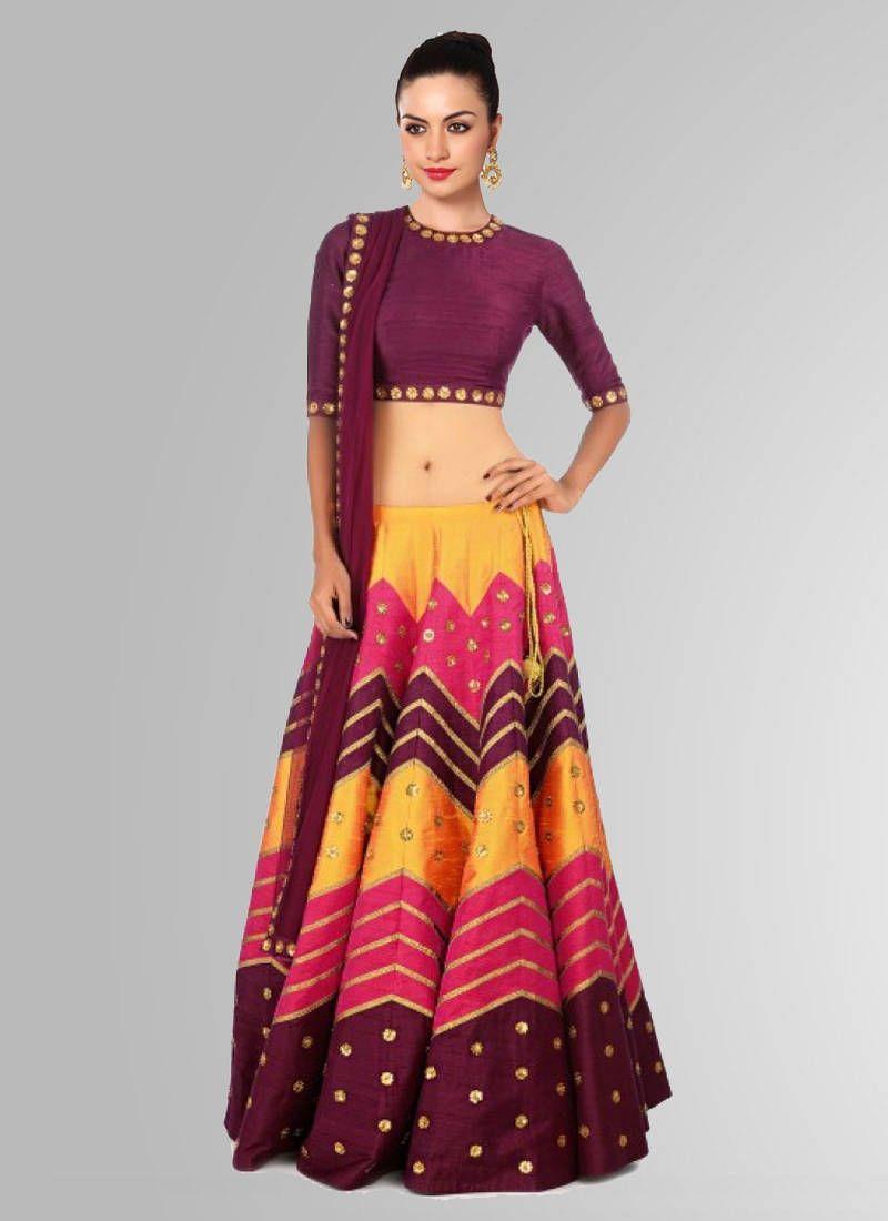 4046629f07 Multicolor printed raw silk lehenga with choli | Designer Ghagra ...
