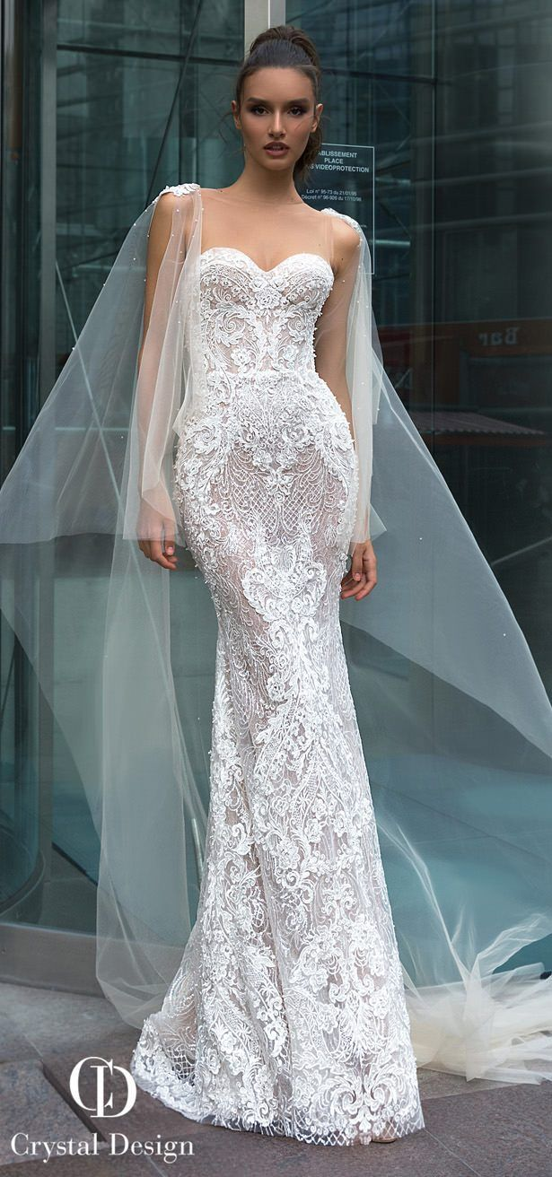Lace over tulle wedding dress january 2019 Crystal Designs Wedding Dresses   Wedding  Pinterest  Wedding