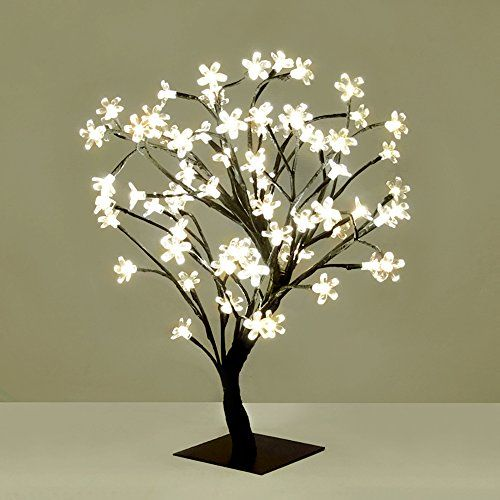 Decorative Cherry Blossom Bonsai Style Tree Table Lamp Light With 72 Glorious White Led S 45cm Amazo Twig Lights Battery Operated Christmas Lights Tree Lamp