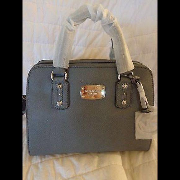 Nwt Michael Kors Saffiano Small Leather Satchel New Mk Heather Grey Handbag Retails For 298