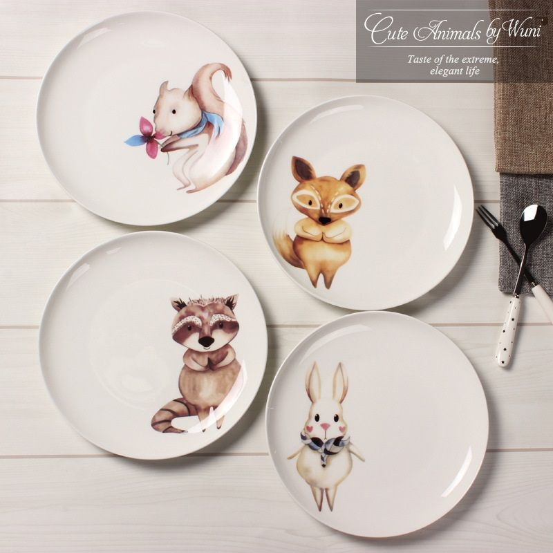 New arrival 8 inch porcelain dinner plates European style Bone china round cute animal character dishes & New arrival 8 inch porcelain dinner plates European style Bone china ...