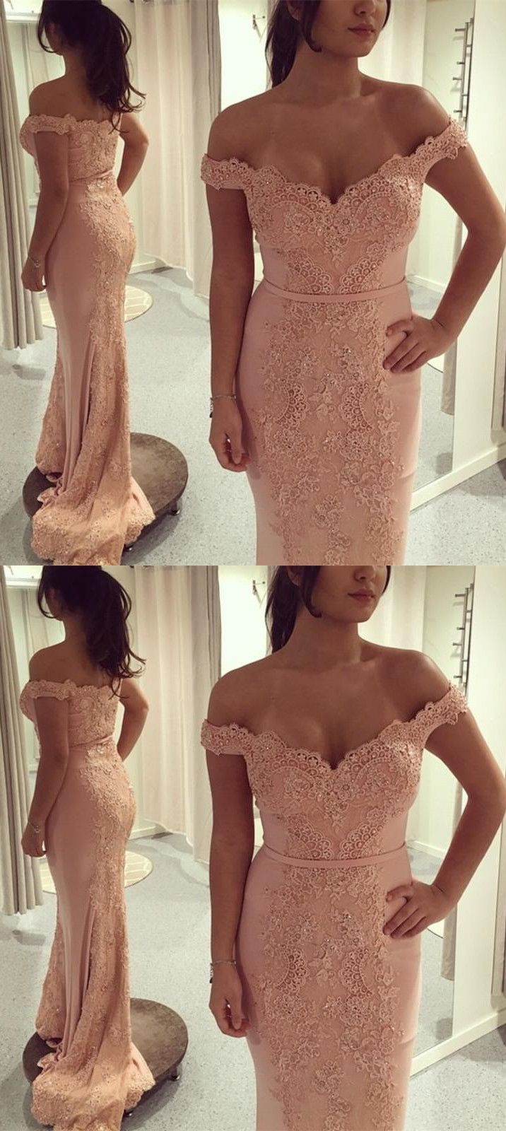 Mermaid offtheshoulder sweep train pink prom dress with appliques