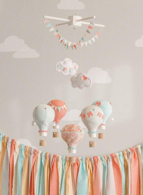 C And Aqua Baby Mobile Hot Air Balloon Travel Theme Nursery Decor Custom I64