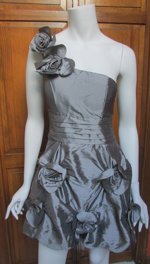 Romeo & Juliet Couture Pewter Silver One Shoulder Flower Mini Cocktail Dress NWT #RomeoJulietCouture #StretchBodycon #Cocktail