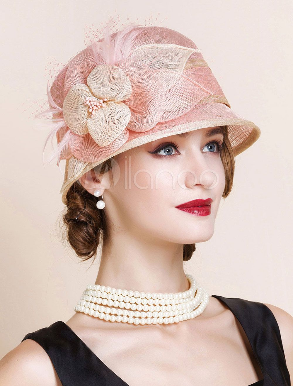a5293de511 Vintage Hat Women Pink Linen Royal Flowers Cloche Hat Retro Costume  Accessories  Pink