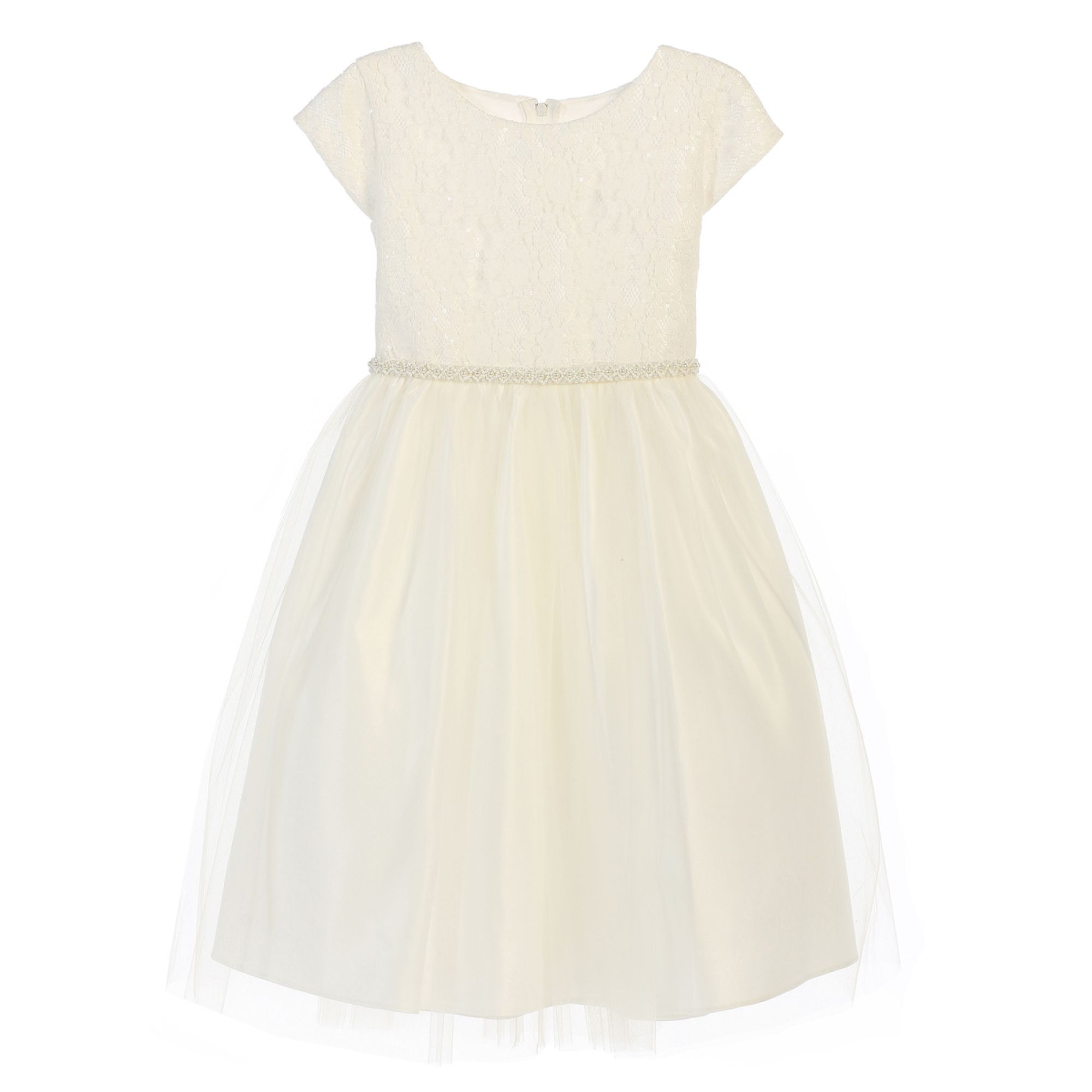 Sweet Kids Little Girls Off White Lace Sequin Tulle Flower Girl