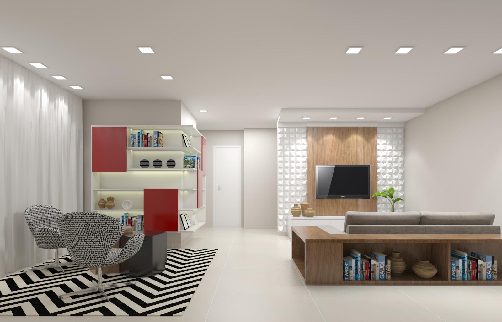 Sala De Estar E De Tv Com Painel 3d Tapete Geom Trico E Toques De  -> Tapetes Geometricos Sala