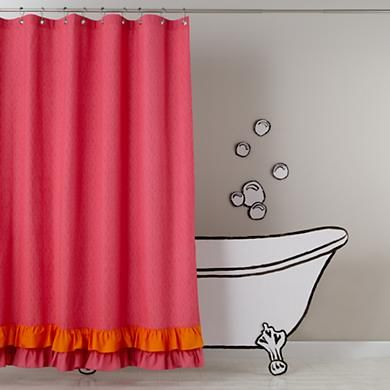 Kids Shower Curtains Pink And Orange Ruffled Shower Curtain In
