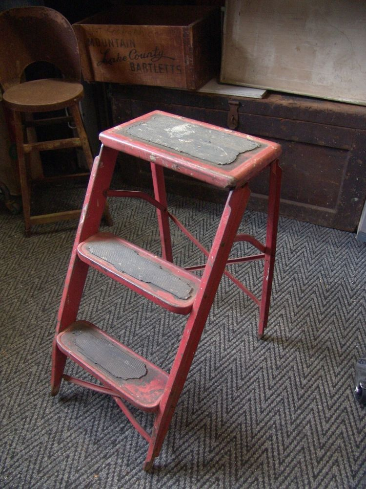 Vintage Industrial Metal Step Stool Easy Fold Mid Century