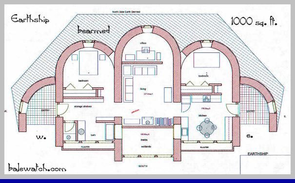 Straw Bale House Plan sq  ft   Straw Bale  quot Earthship    Straw Bale House Plan sq  ft   Straw Bale  quot Earthship quot    Kitchen center  expand center in front and back to fit kitchen  dining  living  and sma