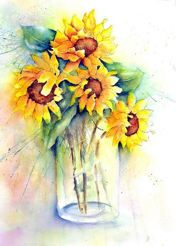 Sunflowers And Vase In 2020 Watercolor Sunflower Floral
