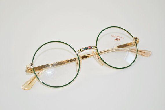 vintage marius morel children frame glasses eyewear retro round gold green yellow - Morel Frames