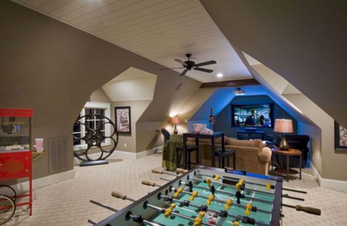 16 Super Fun Furniture Ideas For Game Room Bonus Room Design Bonus Room Decorating Attic Game Room