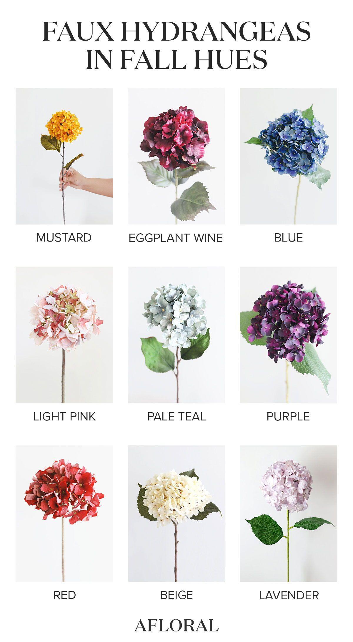 Shop Artificial Hydrangea Flowers In Fall Hues From Afloral Com Artificial Hydrangea Flowers Flowers Silk Hydrangeas