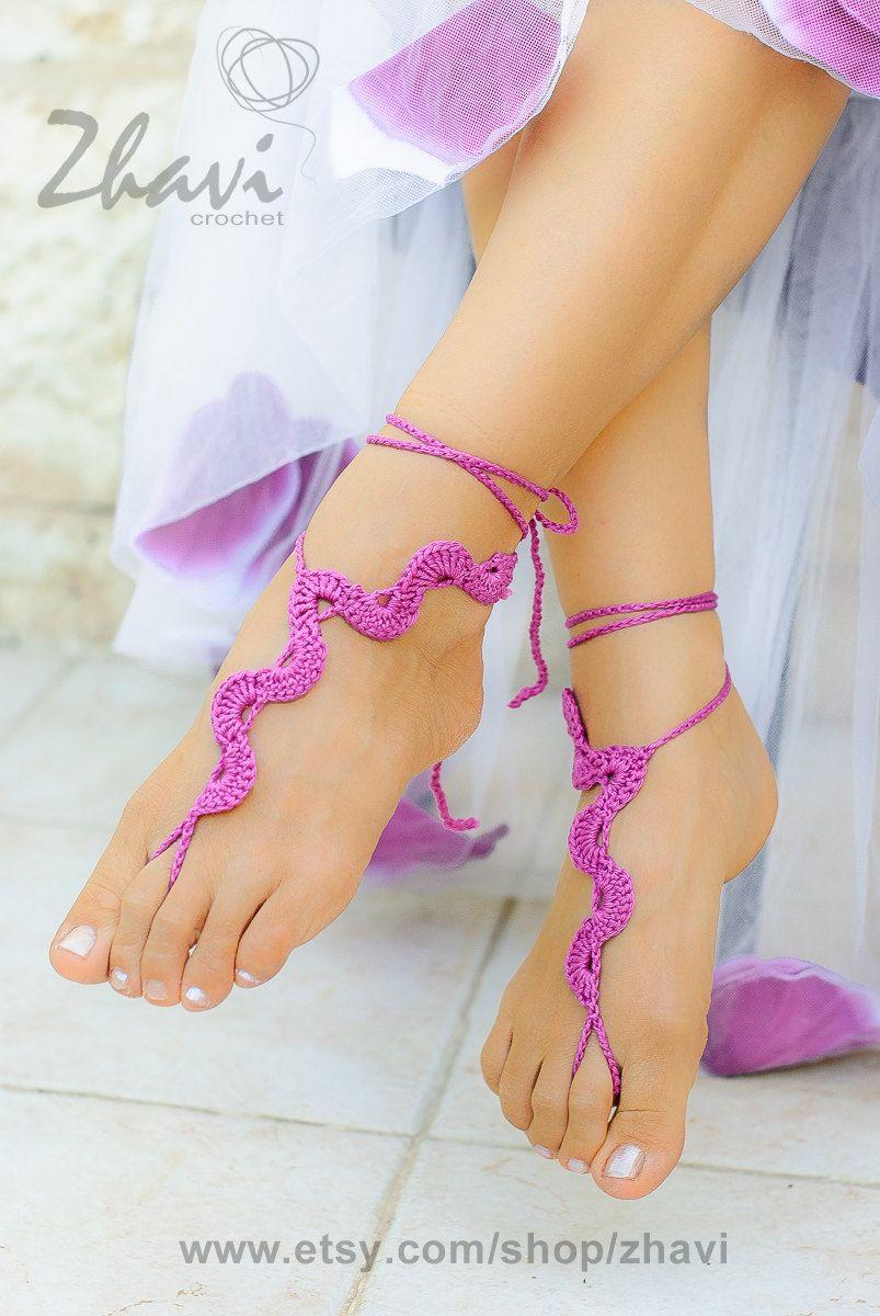 Beach wedding foot jewelry  Bridal foot jewelry Beach wedding Lilac crochet barefoot by ZHAVI