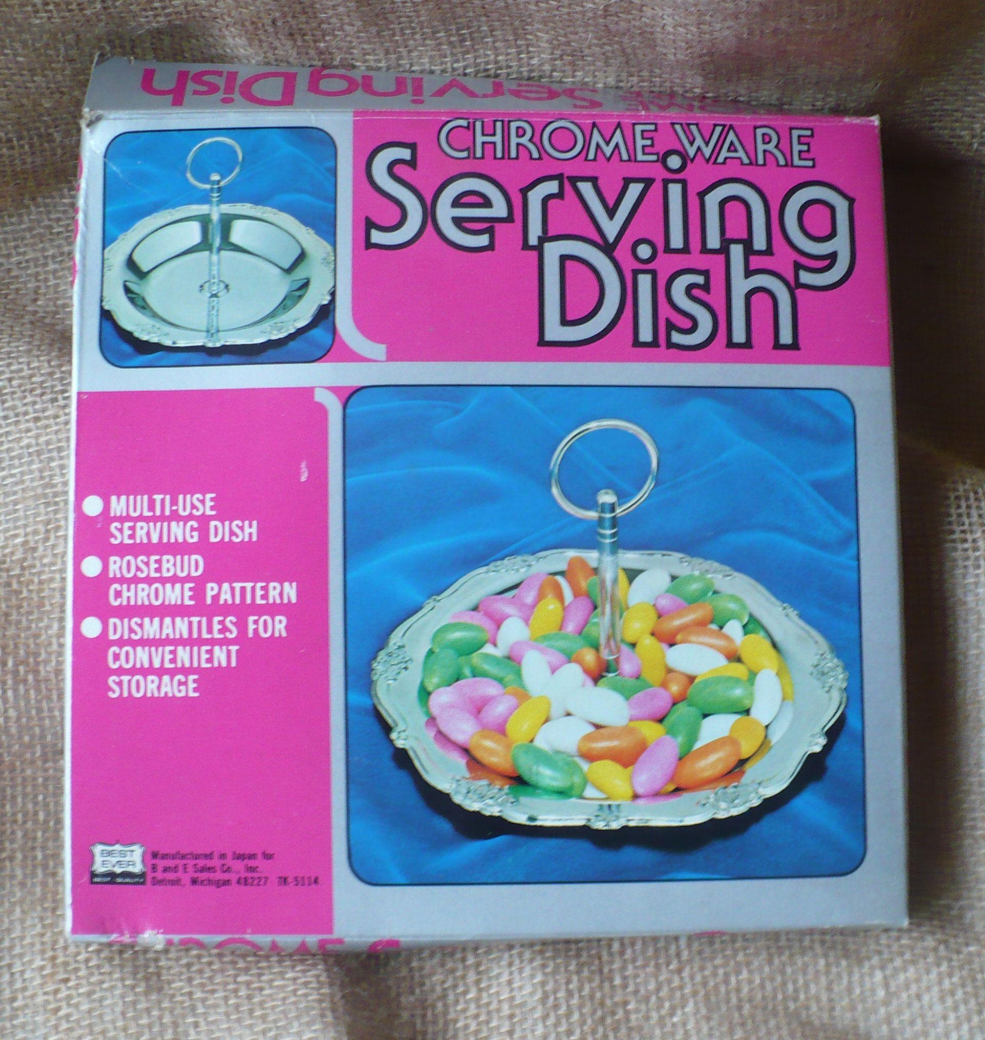 Chrome Ware Serving Dish, Vintage Made in Japan Candy Dish, Vintage Relish Tray, Rosebud Pattern, Free Shipping #dishware