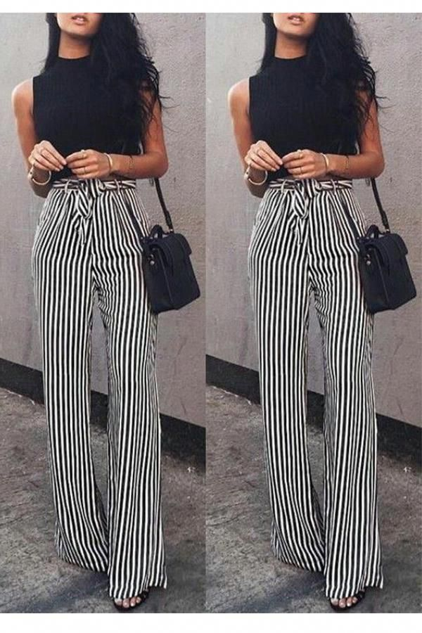 Photo of Fashion Casual Slim Striped Lace-Up Straight Trousers Pants