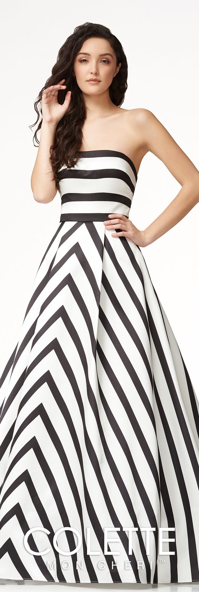 Contemporary striped aline prom dress colette for mon cheri