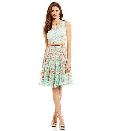 ebca7c5d64d Leslie Fay Belted Floral Lace FitandFlare Dress  Dillards