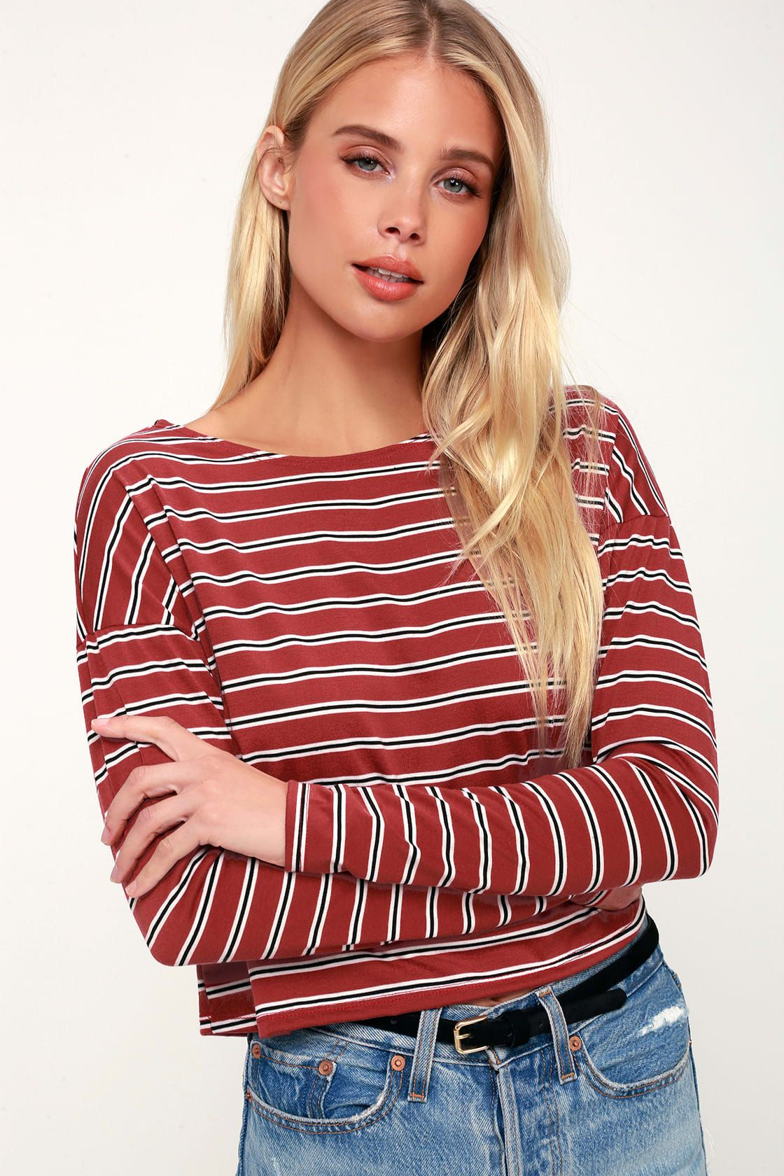 36fc5bbc97d463 City Girl Rust Red Striped Long Sleeve Crop Top in 2019 | w a n t s ...