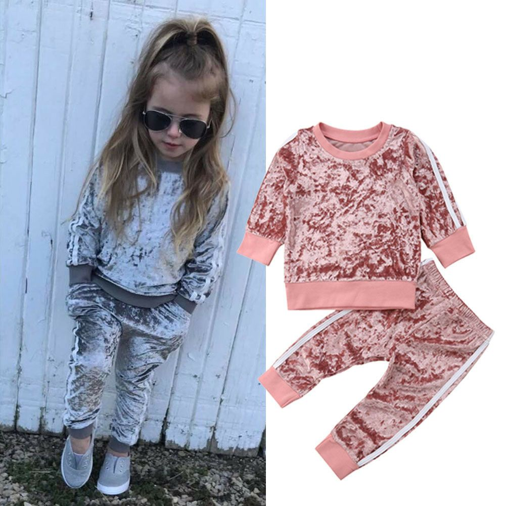 UK NEW Toddler Infant Kids Baby Girl T-shirt Top Pants Outfit Sets Tracksuit