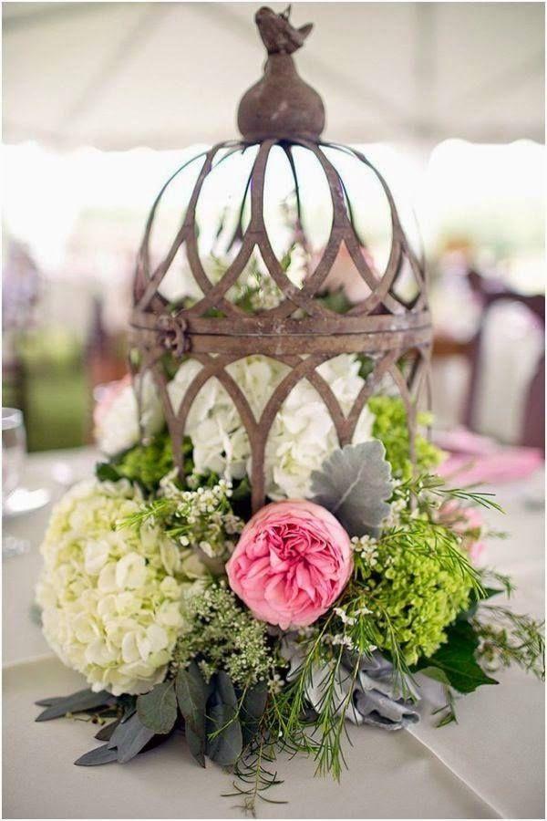 centros-de-mesa-para-boda-sahabby-chic-jaulas DECORACION Pinterest - arreglos de mesa