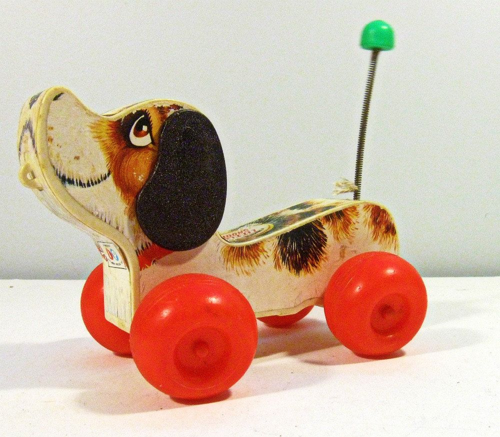 Vintage Toy Dog Little Snoopy Wood Pull Toy Fisher Price