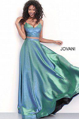 968b6151d1833 Jovani 67419 Emerald iridescent long A line spaghetti straps prom gown.