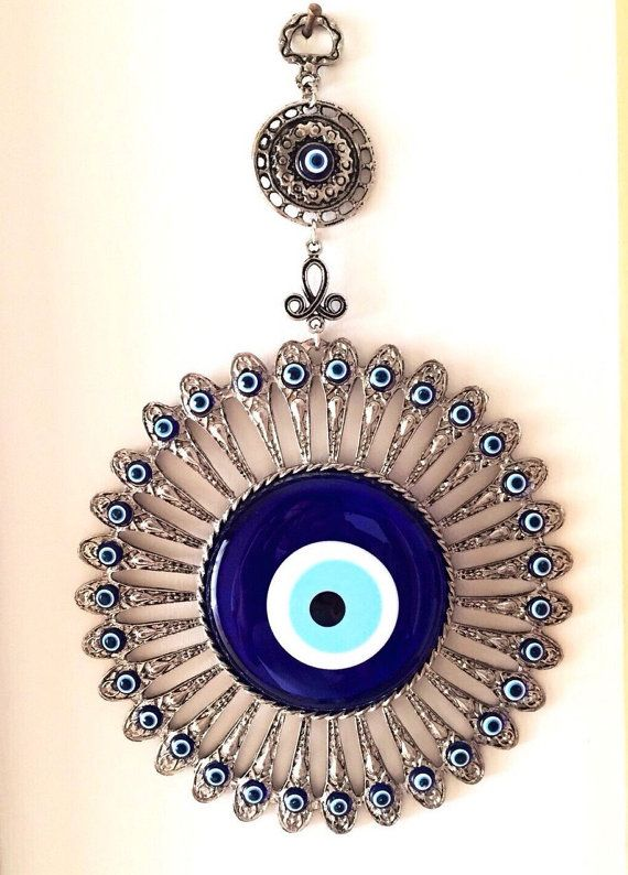 Evil eye Wall Hanging with Evil Eye Beads by PaintedEtsyStone