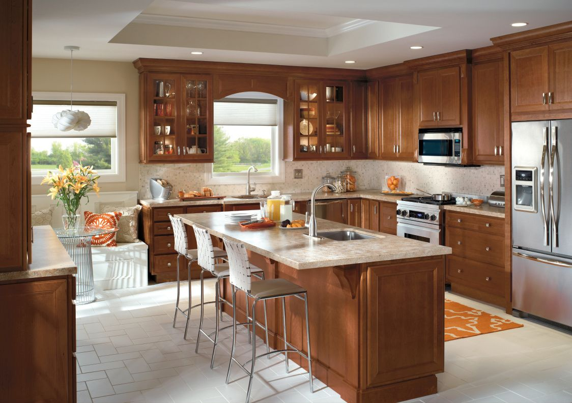 Kitchen cabinet design from Homecrest Cabinetry includes ...