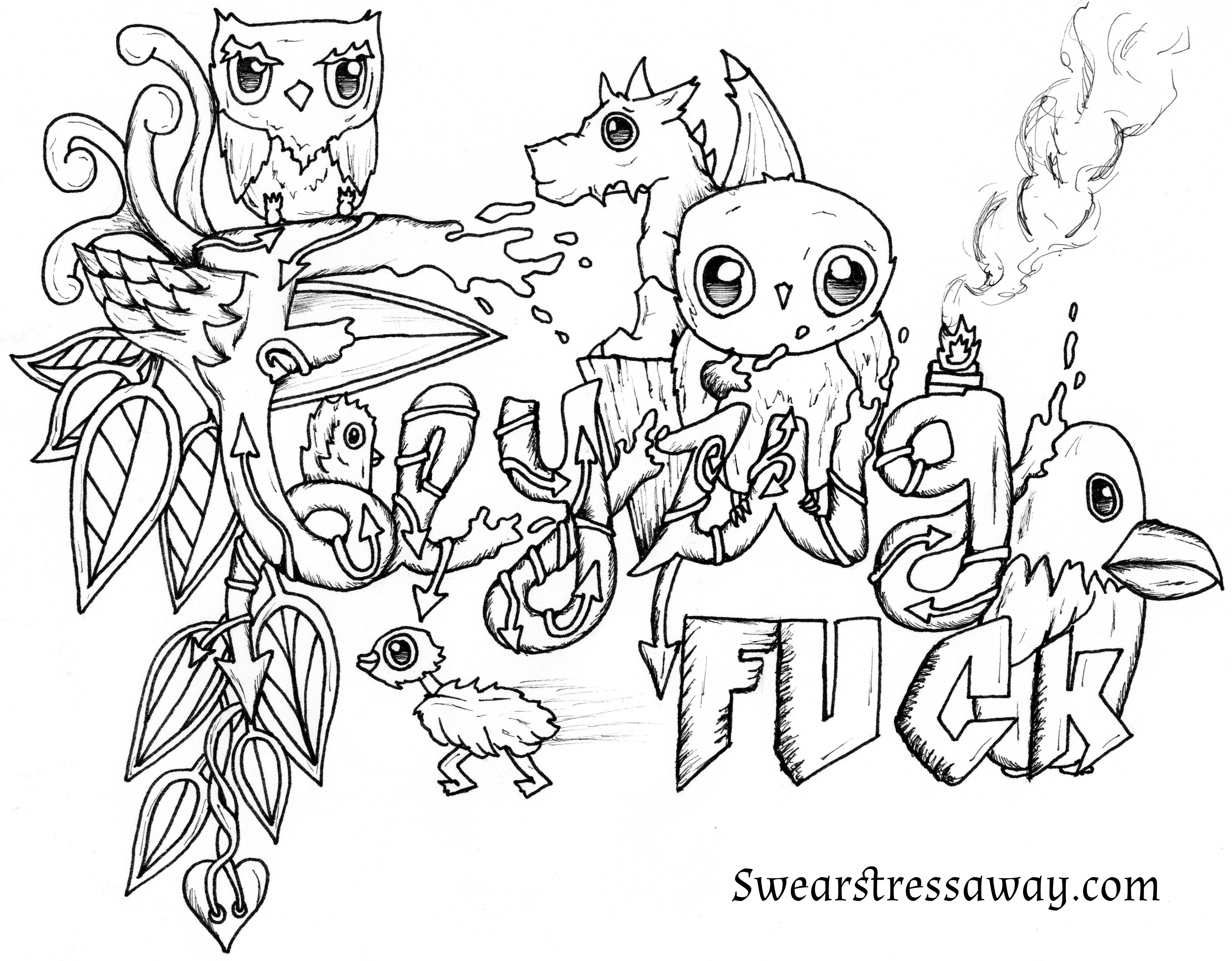 Coloring pages for adults curse words - Free Coloring Book Sweary Sketches Free Coloring Page Flying Fuck Swear Word