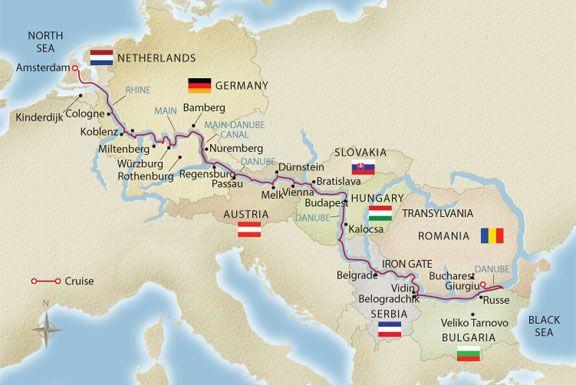 europe river cruise map Europe River Cruise   European Sojourn map | Viking cruises rivers