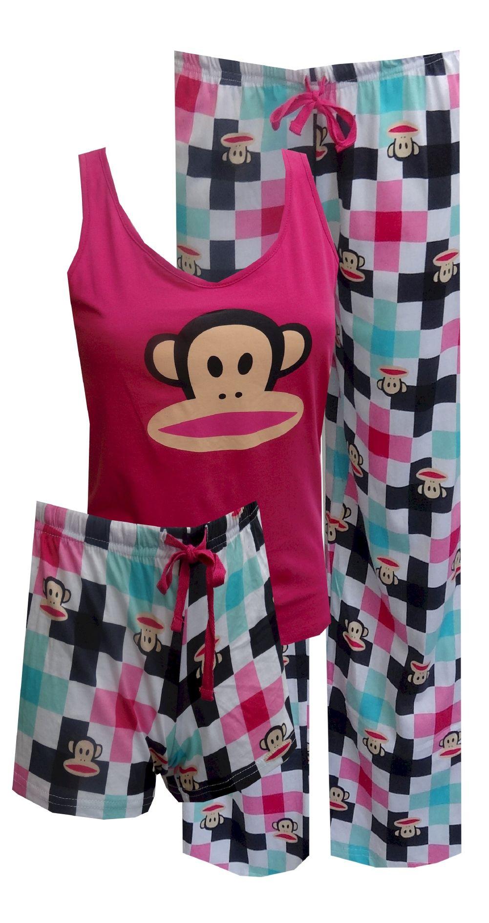 ef982a851 Paul Frank Bold Hot Pink   Checkered 3 Piece Pajama Set No matter ...