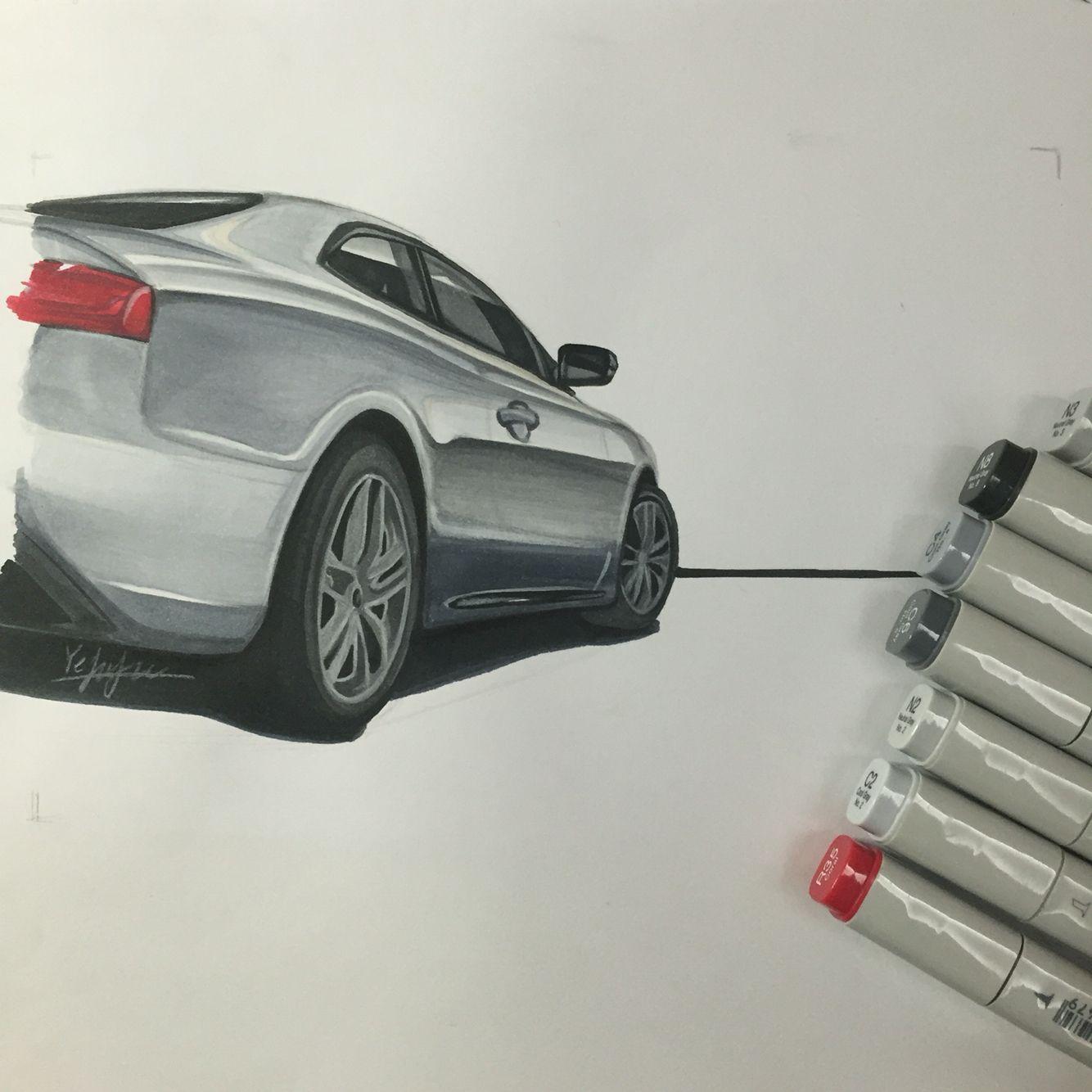 4 hour work. #copic #art #car #Audi