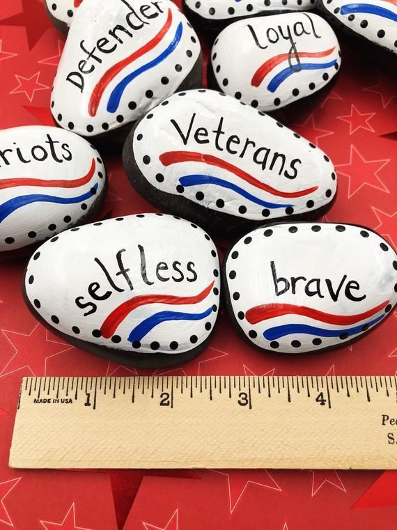 Veterans Day Painted Rocks Set, Attributes of Veterans, Set of 12 Painted Stones, Veteran's Gift, Gift for Veteran, Patriotic Painted Rocks