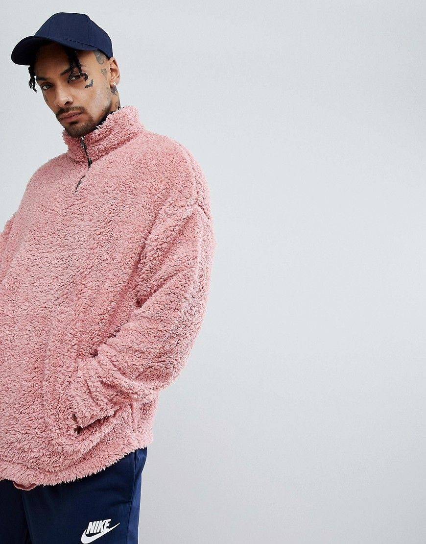 Oversized Sweatshirt In Borg With Half ZipTrack And Contrast