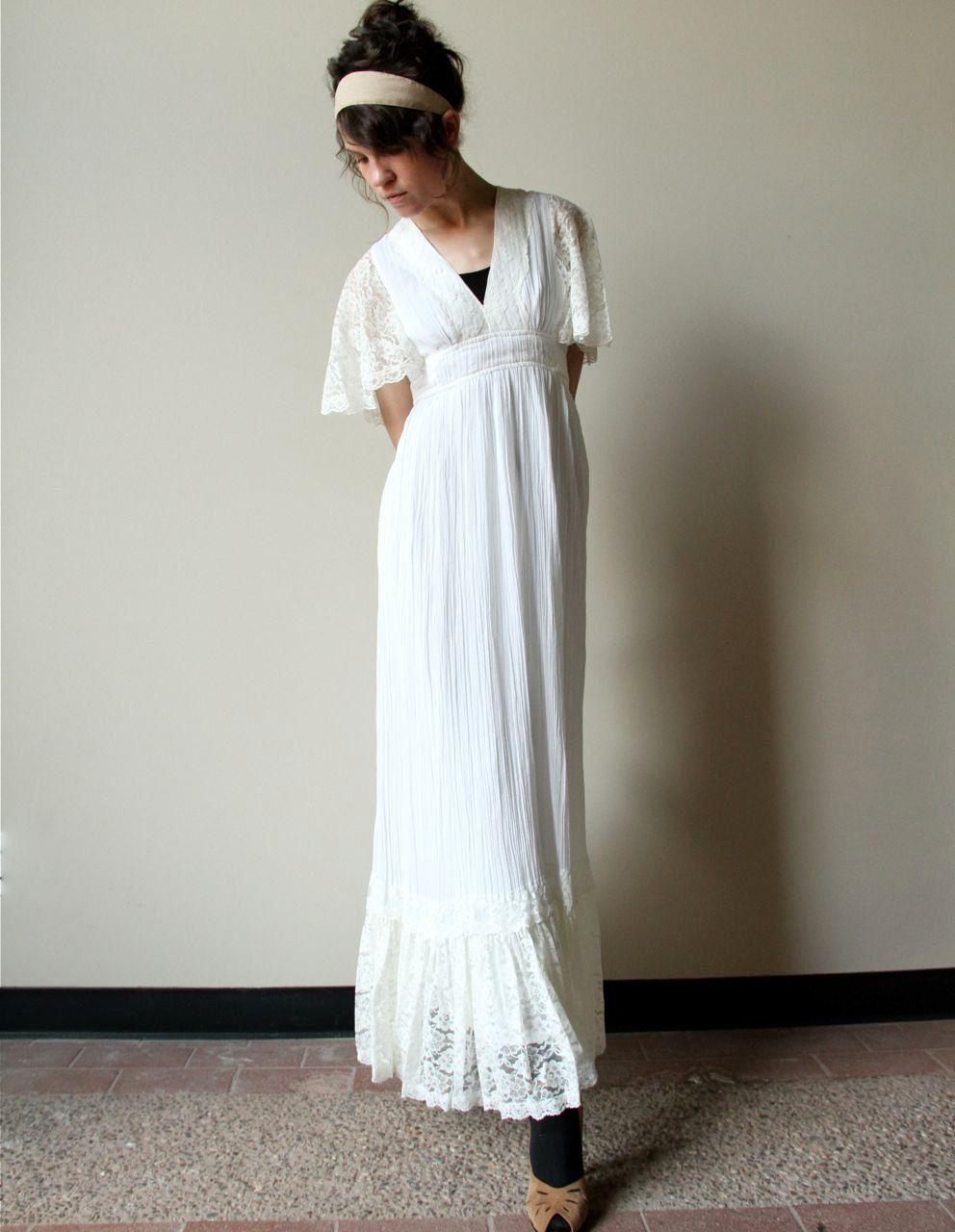 70s Boho Wedding Dress Vintage Hippie Ivory Off White Cream