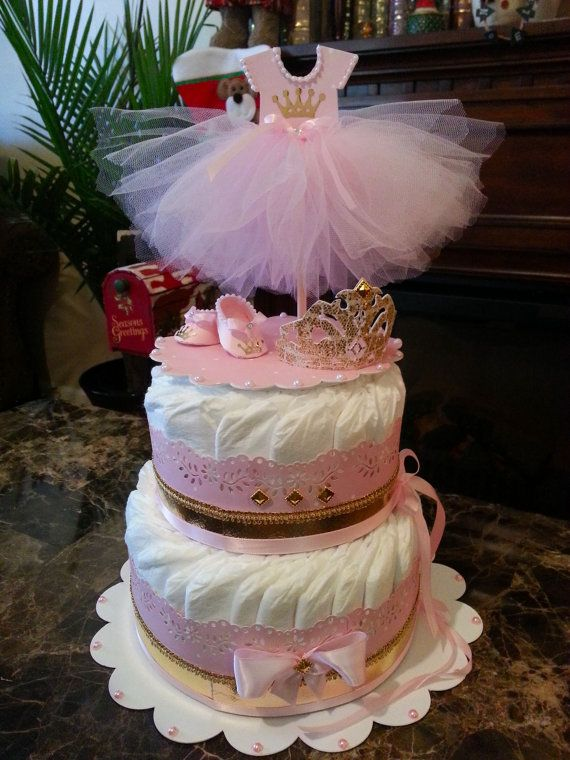 Two Tier Gold And Pink Princess Diaper Cake With Decorative Cake