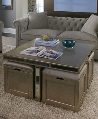 Ailey Cube Coffee Table With 4 Storage Ottomans Macys