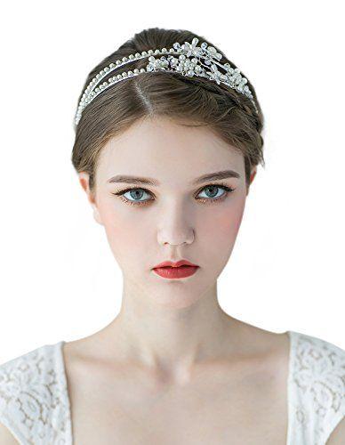 Waatcher Sweetv Double Band Pearl Hair Tiara Ivory Bridal Headband Party Wedding Headpieces