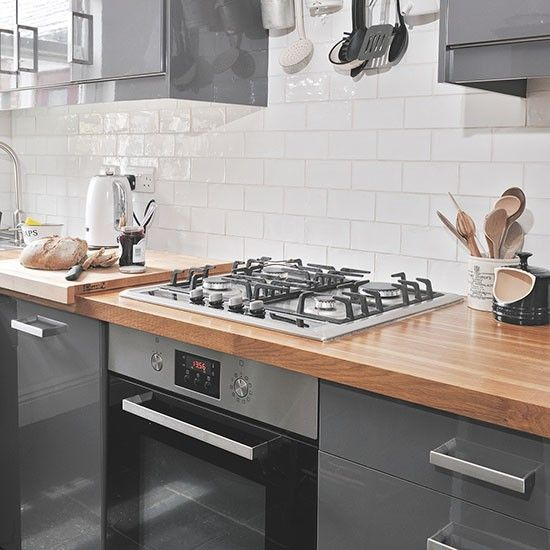 White High Gloss Kitchen Cabinets And Butcher Block