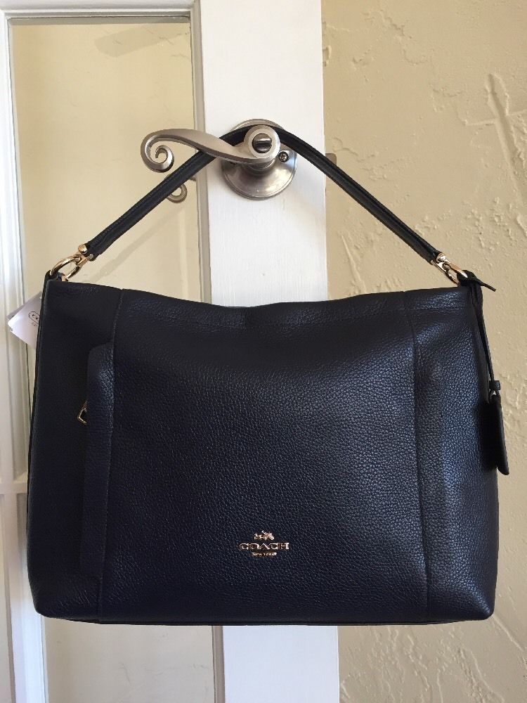 Coach 34312 Scout Hobo Navy Blue Pebble Leather Convertible Crossbody Ebay Designer Bagsdesigner