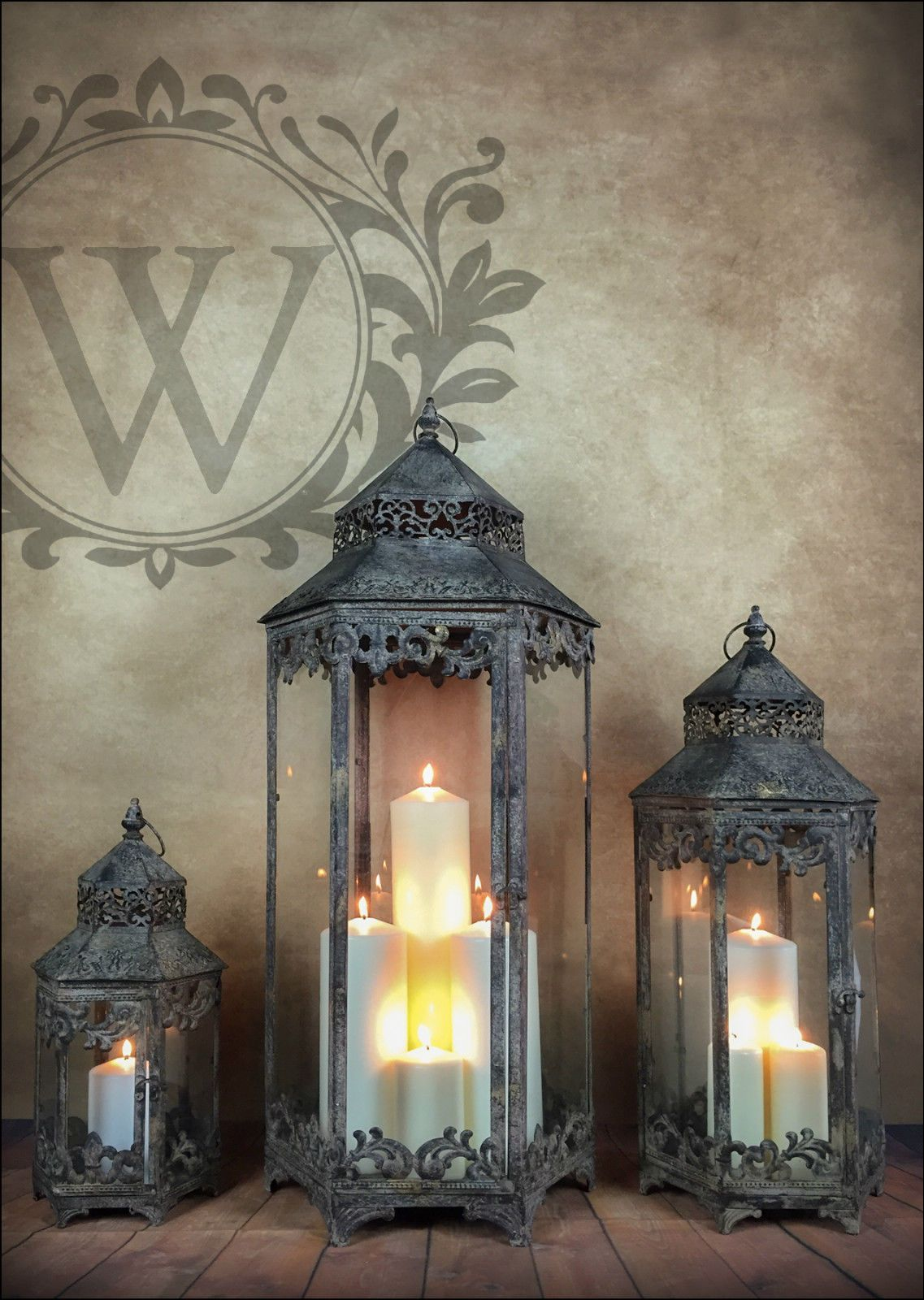 Vintage Ornate LED Lantern Table Lamp Indoor Home Decor Lighting White Metal NEW