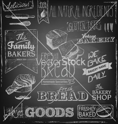 Bakery elements on a blackboard vector - by 54media on VectorStock®