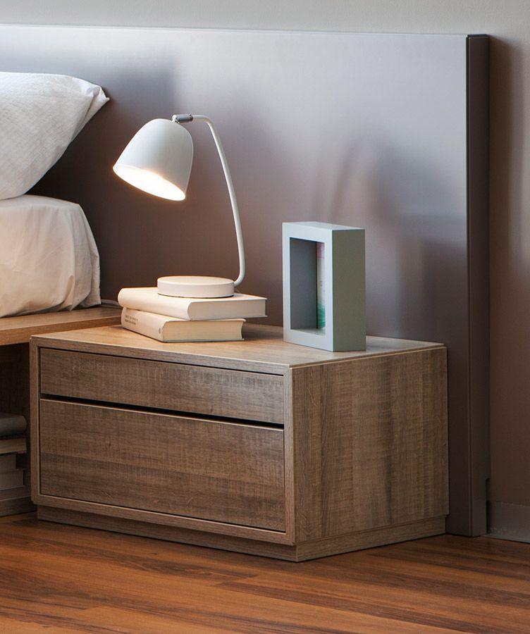 Mesita de noche de madera natural habitaciones en 2019 - Mesitas de noche recicladas ...