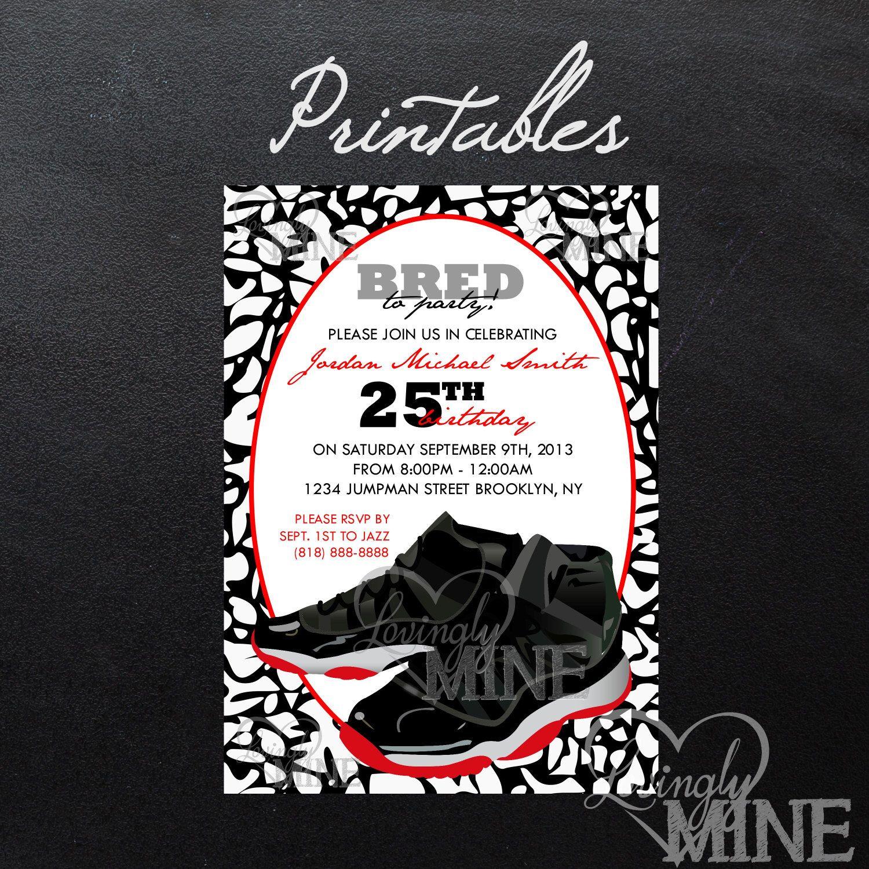 Printable Jordan Jumpman Inspired Birthday Invitation - PERSONAL USE ONLY-  Bred Black, Red Air