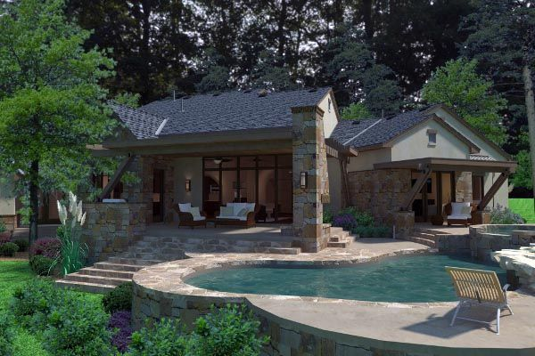 Cottage Craftsman European French Country House Plan 75135 Rear