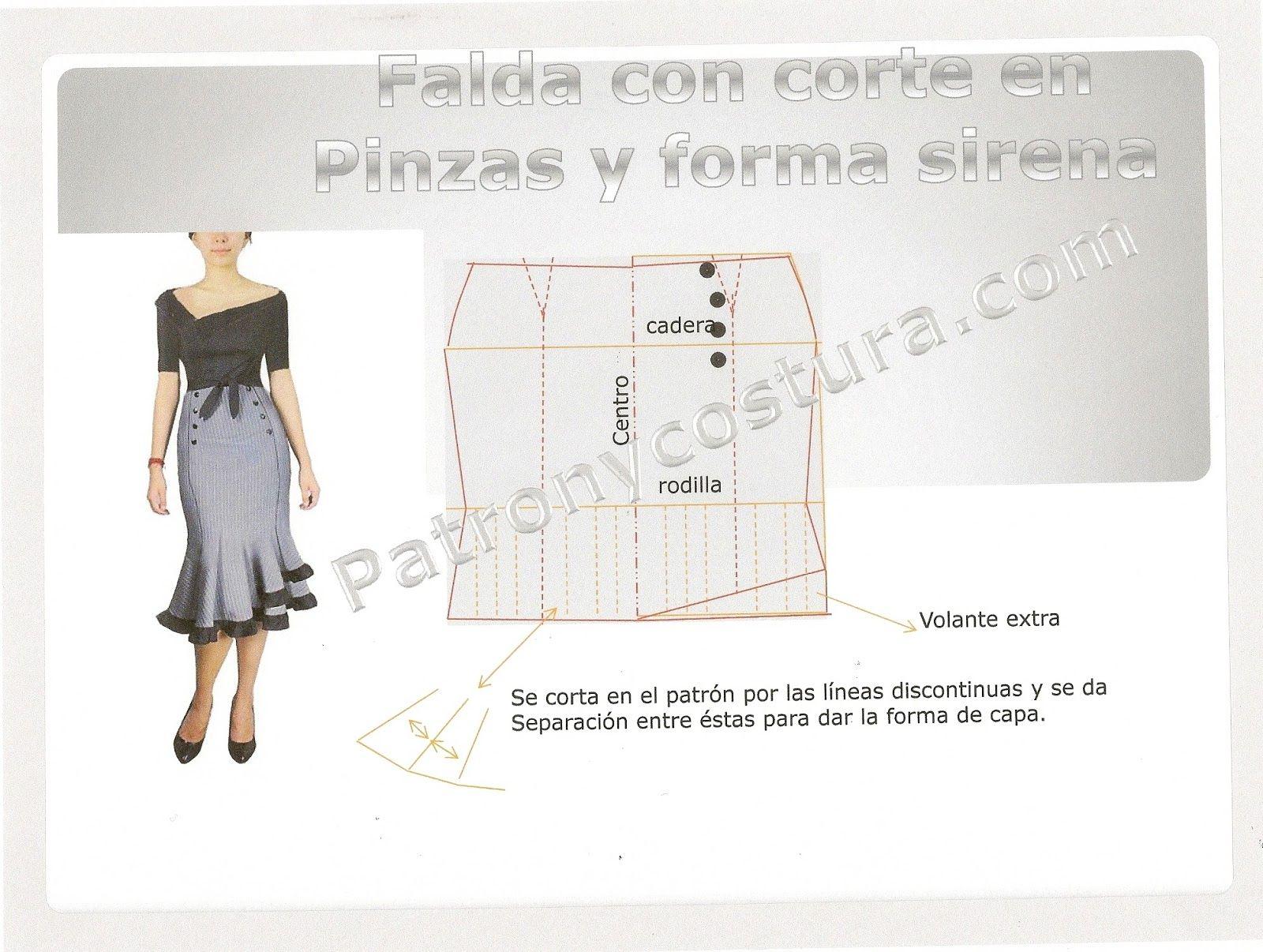 Modelos de falda tipo sirena   Pinterest   Pinzas, Sirenitas y Falda