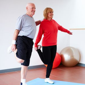 image of senior couple doing strength & balance exercises